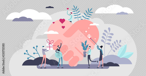 Voluntary help concept, flat tiny persons vector illustration