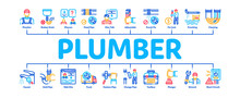 Plumber Profession Minimal Infographic Web Banner Vector. Plumber Worker And Equipment, Faucet And Pipe Research, Instrument Case For Fixing Illustrations