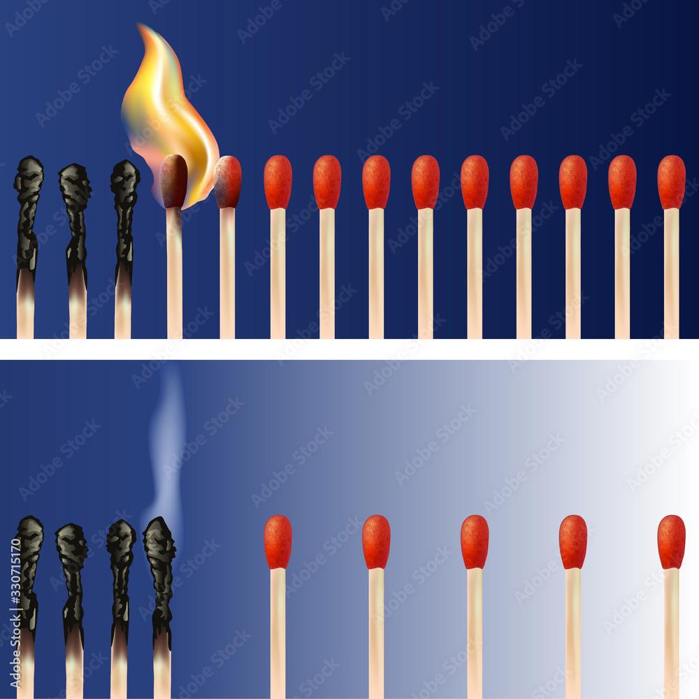 Fototapeta Concept de la propagation d'une épidémie avec des allumettes qui par proximité se transmettent leurs flammes et d'autres qui endigue la contagion en gardant leurs distances.