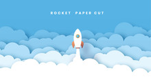 Gorizontal White Paper Startup Rocket Concept Vector Illustration. Can Be Used For Web Design And Workflow Layout. With A Lot Of Clouds. Blue Sky. Abstract 3D Background.