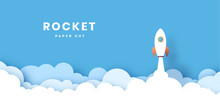 Rocket Illustration Flying Over Cloud. Beautiful Scenery With White Clouds. Paper Cut. Startup Concept Vector