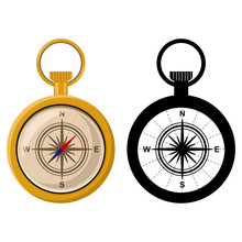 Compass Vector Cartoon Illustr...