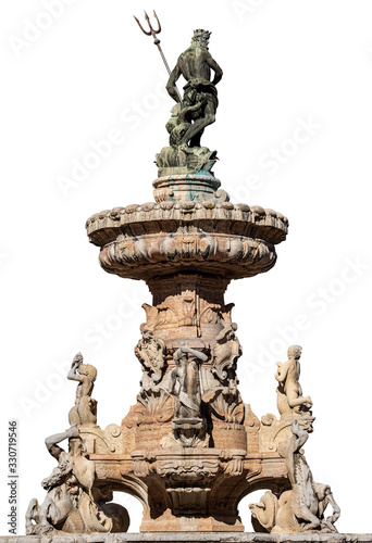 Photo Fountain of Neptune isolated on white Background