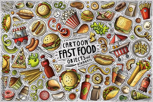 Fototapeta Vector set of Fastfood theme items, objects and symbols obraz