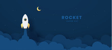 Rocket Launch To The Moon. Cut...