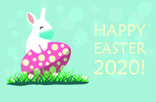 Easter Bunny Wearing Face Mask Against Covid-19 And Giving Foot Shake. Easter Greeting Card. Coronavirus Alert For 2020.