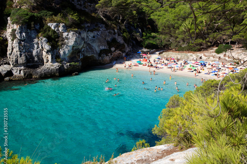 Macarelleta, Menorca / Spain - June 25, 2016: Cala Macarelleta beach and bay, Menorca, Balearic Islands, Spain