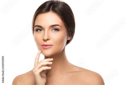 Fototapeta Portrait of young beautiful woman on white background