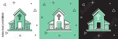 Valokuvatapetti Set Church building icon isolated on white and green, black background