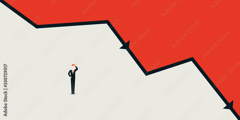 Fototapeta Global Economic Downfall - Design Concept with Chart and Businessman Holding His Head