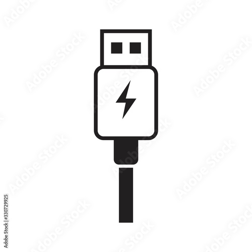 USB charge icon template black color editable Fototapet