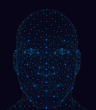 Wireframe Of A Male Face With ...