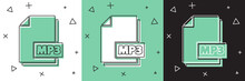 Set MP3 File Document. Download Mp3 Button Icon Isolated On White And Green, Black Background. Mp3 Music Format Sign. MP3 File Symbol. Vector Illustration