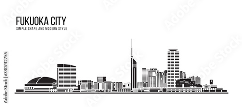 Valokuva Cityscape Building Abstract Simple shape and modern style art Vector design - Fu