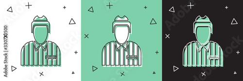 Photo Set Hockey judge, referee, arbiter icon isolated on white and green, black background