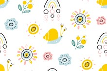 Spring Illustration With Rainbow, Sun, Flowers And Snail. Seamless Pattern For Printing Brochure, Poster, Party, Summer Print, Textile Design, Card. Scandinavian Style.