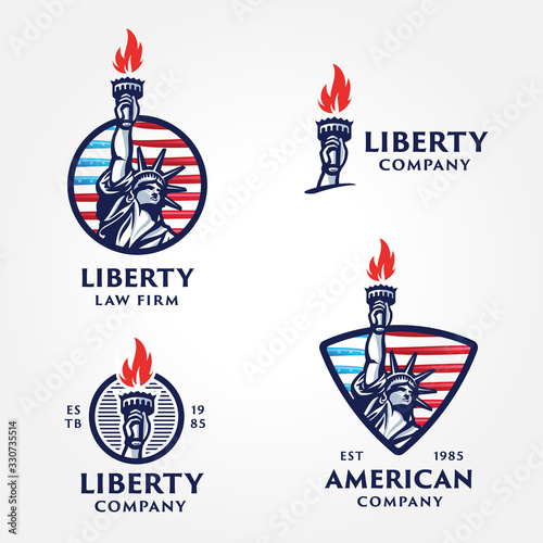 Fotografie, Tablou Set of Solid And Bold Liberty Statue Badges.