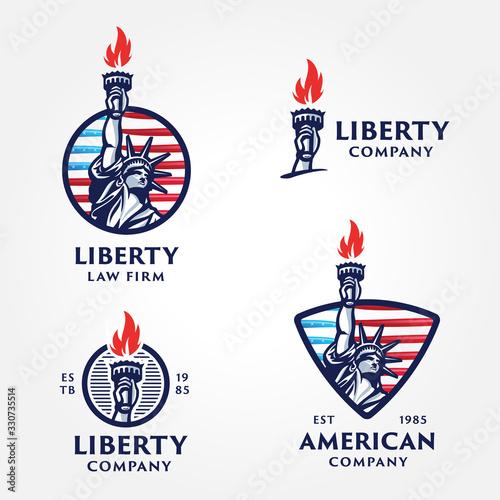 Fotografija Set of Solid And Bold Liberty Statue Badges.