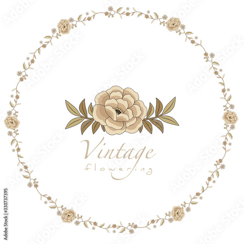 Canvas Print Wreaths or circular frames of stylized vintage retro flowers isolated on white b