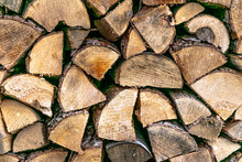 Close-up Of Neatly Stacked Firewood