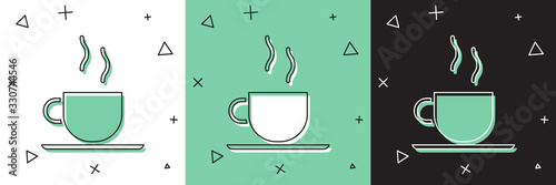 Set Coffee cup icon isolated on white and green, black background. Tea cup. Hot drink coffee. Vector Illustration