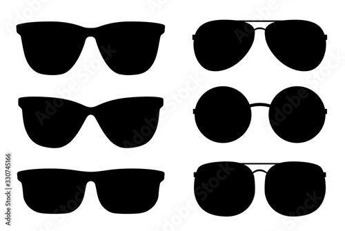 Photo set of black sunglasses and glasses silhouettes
