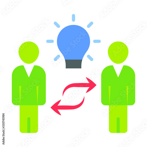Photo Partners collaboration vector Flat icon design, Green Two persons working togeth