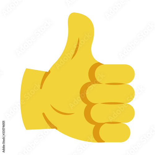 Fototapeta The thumbs up Symbol for express assent, approval, or encouragement in digital communications Concept, OK Right way Expession on White background, Motivational Perfection Sign Vector Flat Icon design obraz