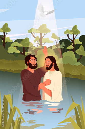 Slika na platnu Bible narratives about the Baptism of Jesus Christ