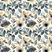 Dark Green Yellow Watercolor Floral Seamless Pattern