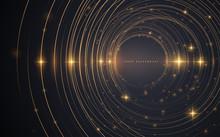 Abstract Gold Circle Lines Bac...