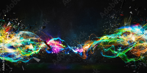 Fototapety, obrazy: Modern abstract motion banner on dark background