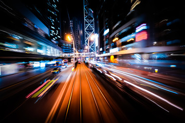 Modern city motion blur. Abstract cityscape traffic