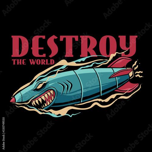 Shark bomb illustration. Destroy the world. Pop style design Wallpaper Mural