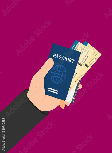 Passport with tickets in hand vector illustration isolated on background Canvas Print