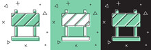 Set Road Barrier Icon Isolated...