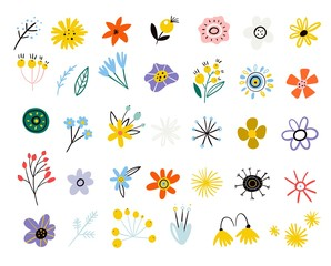 Colorful floral collection. Vector set of summer flowers in a flat style. Spring Easter decoration from leaves of branches and wildflowers. Scandinavian style. Modern design. botanical floral