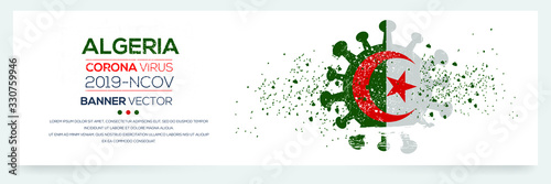 Algeria flag with corona virus Symbol, (2019-nCoV), vector illustration Wallpaper Mural