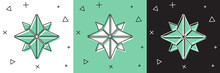 Set Wind Rose Icon Isolated On...