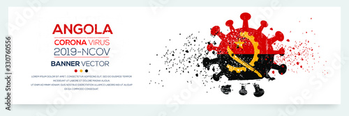Angola flag with corona virus Symbol, (2019-nCoV), vector illustration Wallpaper Mural