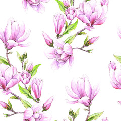 Seamless floral wallpaper with japanese magnolia flowers, watercolor pattern for  spring woman dress.