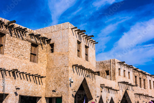Architecture of Souq Waqif, touristic destination in Doha, Qatar