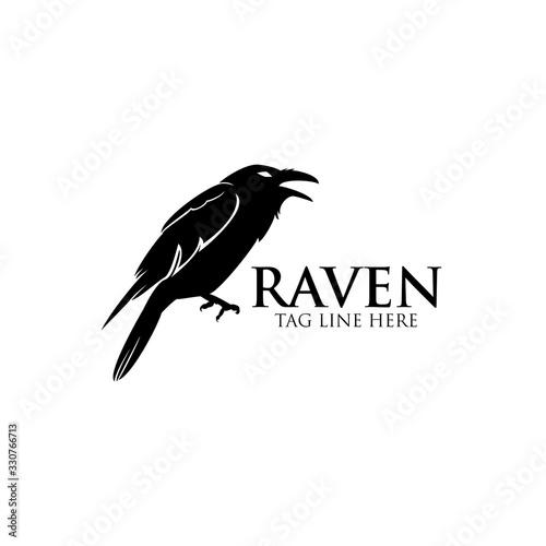 Fototapeta raven logo icon vector design template