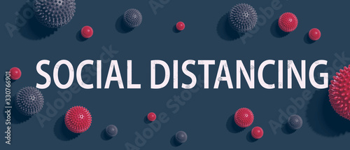 Social Distancing theme with viral objects flatlay overhead view - 330766901