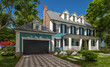 3d rendering of modern cozy classic house in colonial style with garage and pool for sale or rent with beautiful landscaping on background. Clear sunny summer day with blue sky.