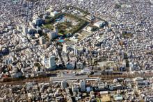 静岡市中心部を空撮