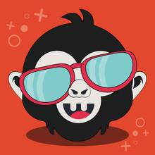 Cute Monkey Face Cartoon Vecto...