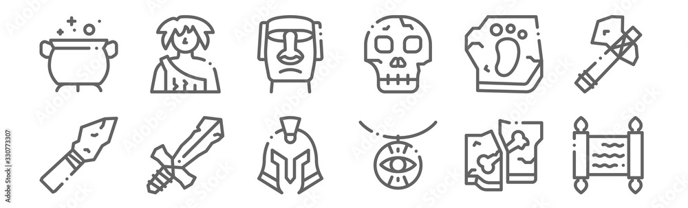 Fototapeta set of 12 history icons. outline thin line icons such as papyrus, amulet, sword, footprint, moai, caveman