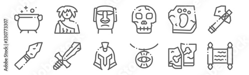 set of 12 history icons. outline thin line icons such as papyrus, amulet, sword, footprint, moai, caveman