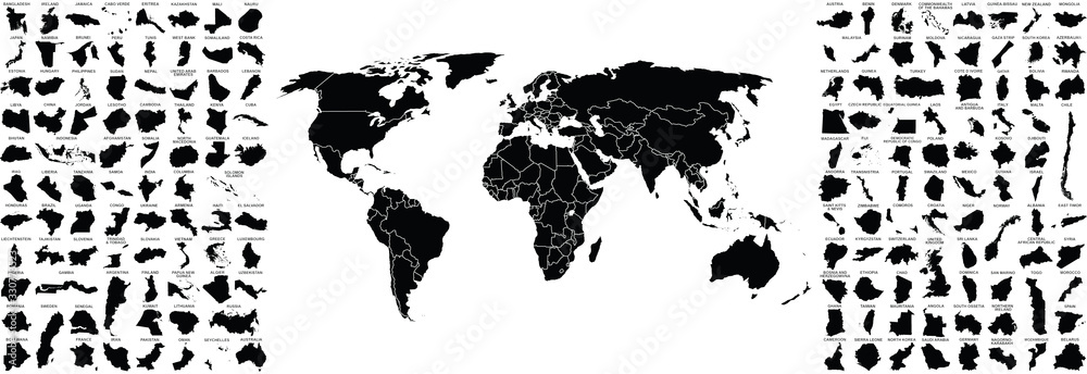 Fototapeta big set of countries maps and world map with countries borders